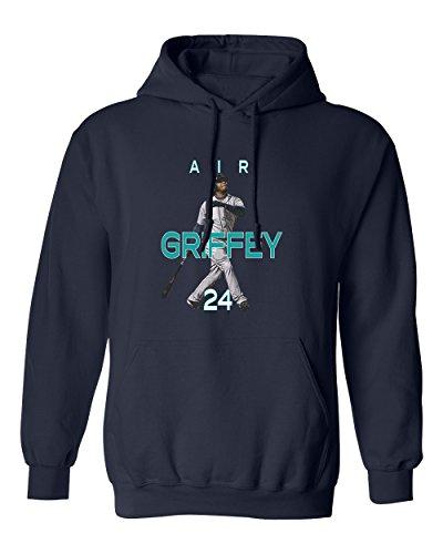 KINGS SPORTS Ken Griffey Jr Seattle Air HR New Men's Hoodie Sweatshirt (Navy,L) -