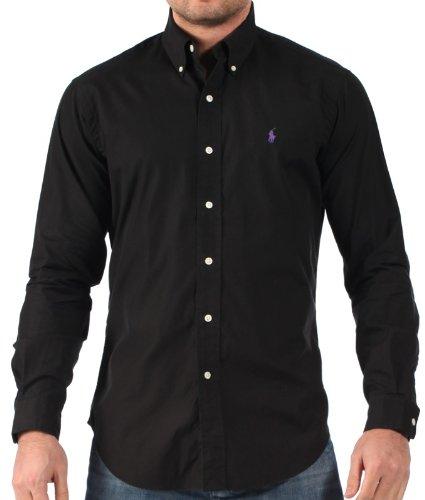 16fd8579 Ralph Lauren Mens Dress Shirt Classic Button Down Collar Black - XX ...