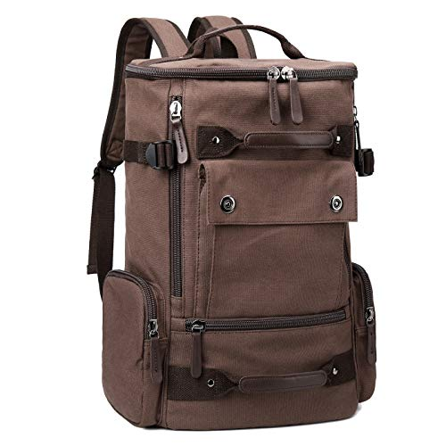 3a74f20b56 Galleon - Canvas Backpack Mens College Laptop Rucksack Bookbags For School ( Coffee-1)