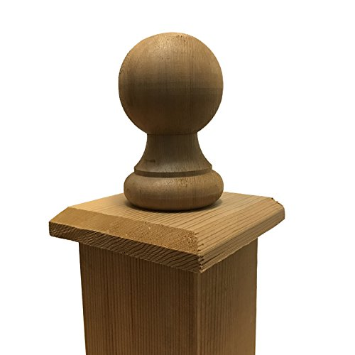 """Cedar Wood Provincial Ball Finial & Flat Base Post Cap for 4"""" x 4"""" Fence and Deck Posts"""