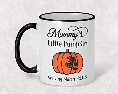 Mommys Little Pumpkin Mug Pregnancy Announcement Mug Maternity Gift Due Date Mug Halloween Mug Pregnant Coffee Mug Baby Feet -