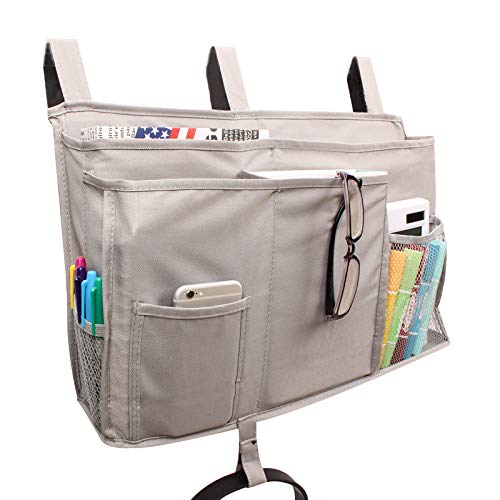 Haiyue Bedside Caddy,Bedside Storage Bag Hanging Organizer with 8 Pockets for Bunk Dorm Rooms and Hospital Bed Rails and More,Grey