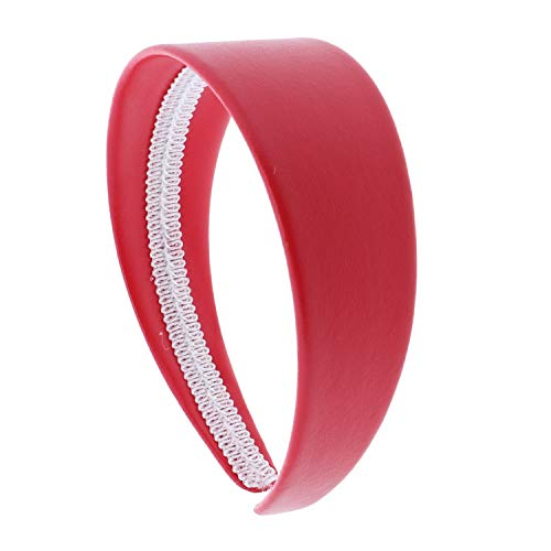 (2 Inch Wide Leather Like Headband Solid Hair band for Women and Girls - Bright Red)