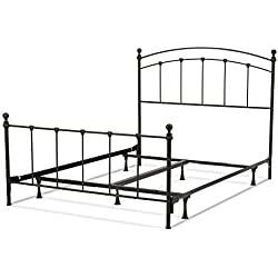 Sanford Bed with Metal Panels and Round Finial Posts, Matte Black Finish, Queen