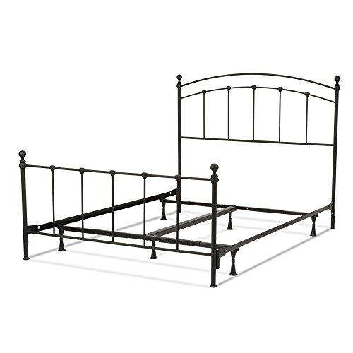 Sanford Complete Bed with Metal Panels and Round Finial Posts, Matte Black Finish, Queen - Fashion Bed Metal Headboard