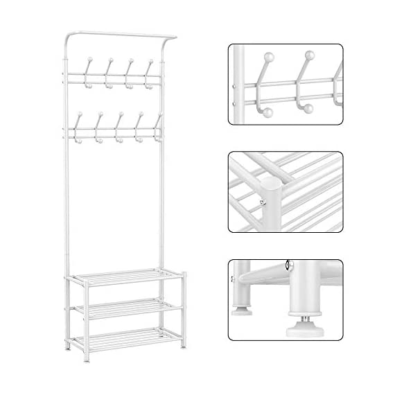 Yaheetech Fashion Heavy Duty Garment Rack with Shelves 3-Tier Shoes Rack,Coat Rack with Hanger Bar White - High quality: Constructed of powder coated metal tube, antirust and durable, won't be out of shape, strong and sturdy. 18 hooks coat rack: 18 hooks in 4 levels can be used for you and your kids' clothes, bags, hat, purse and handbags in different height and type. 3-tier shoe rack: 3-tier ample metal shelves provided to organize various size shoes , shoe boxes, and storage boxes. 3-tier shoe rack is suitable for keeping your shoes neat and organized. You can also storage your handbags on the top shelf. - hall-trees, entryway-furniture-decor, entryway-laundry-room - 415VY1s6ymL. SS570  -