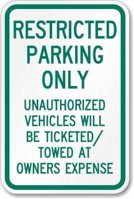 Amazon.com: Solo aparcamiento restringido, los vehículos no ...
