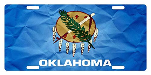 License Plate Covers Oklahoma State Flag State Emblem Paper Custom Personalized Vanity, Front License Auto Car Tag, Novelty Car Accessories