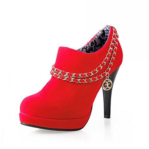 AllhqFashion Mujeres Puntera Redonda Cremallera Sólido Tacón de aguja De salón con Metal Rojo