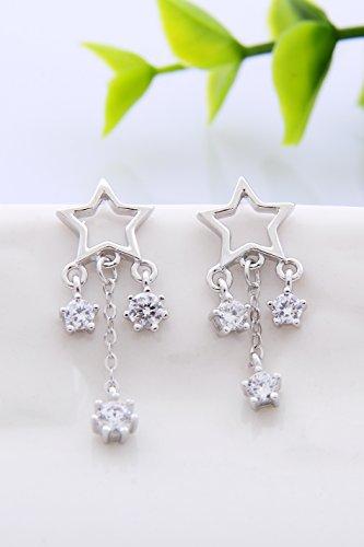 KENHOI Beauty thai love you snowflake earrings earings dangler eardrop women girls zircon s925 sterling silver personalized gift unique fashion elegant woman by KENHOI Beauty