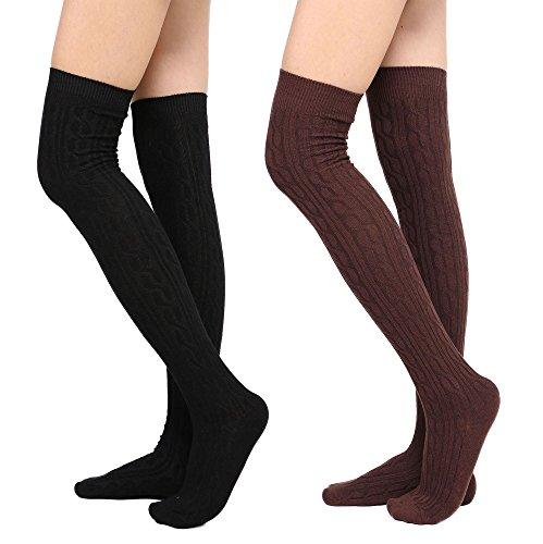Womens Winter Kabel stricken über Knee High Tigh hohe Socken 1-3 Paar 2 Schwarz + Kaffee