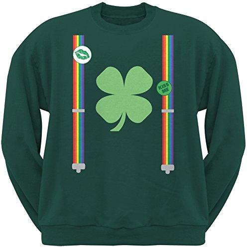 Old Glory ST. Patricks Day - Rainbow Suspenders Forest Green Adult Sweatshirt - Medium (Sweatshirt Rainbow Adult)