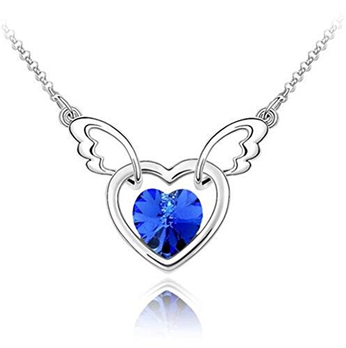 Yuntun Korean Austrian Crystal Angel Wings Peach Heart Pendant Lady Jewelry Necklace(Blue) ()