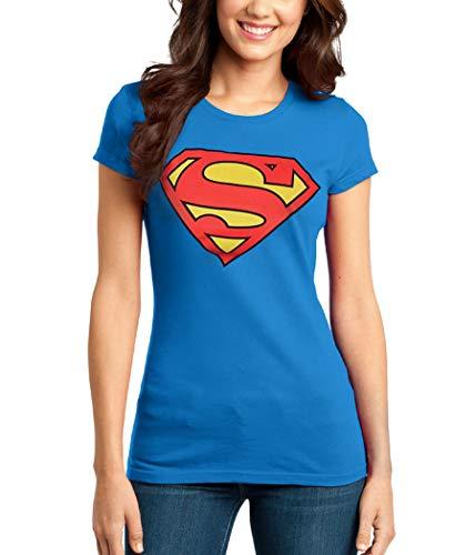 Animation Shops Superman Symbol Junior Women's T-Shirt-Junior Small [JS] Royal -
