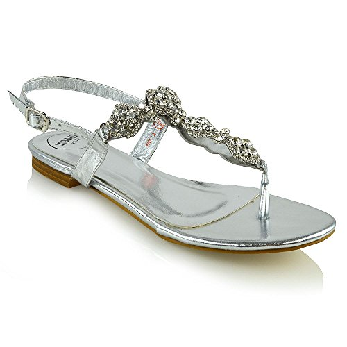 Essex Glam Women's Flat Slingback Toe Post Diamante Silver Metallic Holiday Sandals 8 B(M) US