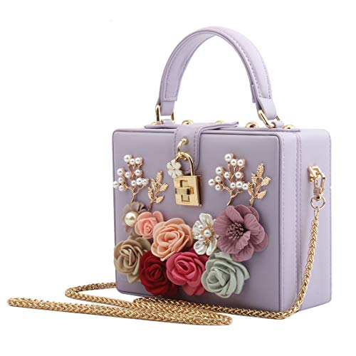 LETODE Women Flower Clutches Evening Bags For Wedding Party Handbag Purse (PURPLE)