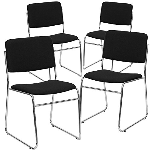 Flash Furniture 4 Pk. HERCULES Series 1000 lb. Capacity Black Fabric High Density Stacking Chair with Chrome Sled Base