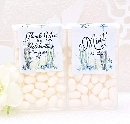 Mint To Be Favors (24 Ocean Tic Tac Labels, Beach Bridal Shower Tic Tac Stickers, Mint to Be Favor Labels, Sea Party)