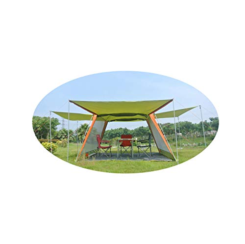 5-8 Person Awning pagola Hiking Travel Beach Fishing Party Family Outdoor Camping Tent,Green