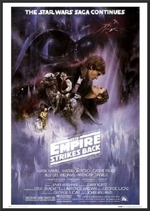amazon com empire strikes back star wars poster dry mounted wood