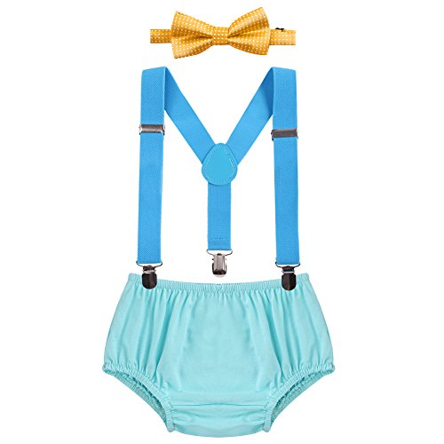 Child Baby Boys Adjustable Elastic Clip Y Back Suspenders Bowtie Outfit First Birthday Cake Smash Bloomers Clothes set (Bow Bloomers)
