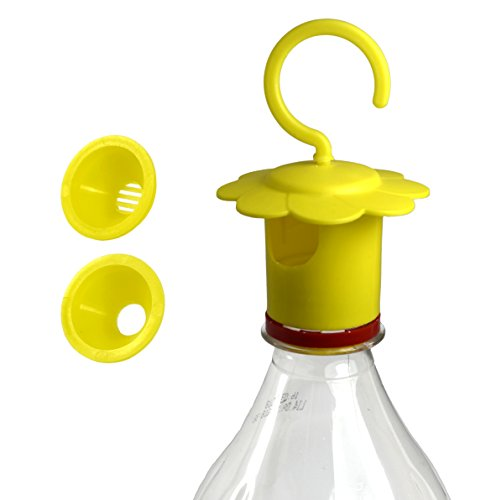 Bottle Cap Fruit Flies and Wasps Traps - outdoor/indoor (kitchen) reusable traps that work - 2 types of funnels for fruit fly/wasp, hornet ,yellow jacket - catcher for PET bottle (Yellow Fruit Tree)
