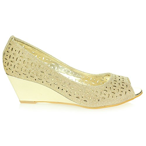 Zapatos Peeptoe Cuña Trabajo Talón Tamaño Mujer De Casual Oro Señoras Inteligente Oficina Comodidad Sandalias Ponerse 7nqpz1S