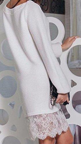 Stampato Bodycon Coolred Floreale Pizzo Matita Moda Donne Lungo Abito Bianco UX0Swq