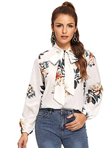 Floerns Women's Bow Tied Neck Lantern Long Sleeve Blouse White Floral S