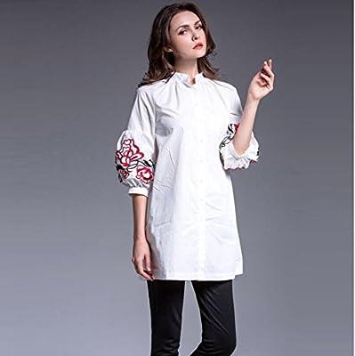Mayihang Blusa Camisa Ropa de mujer,europea y americana Ropa Mujer Camiseta Manga Linterna bordado en el largo período de algodón,Blanca,L: Amazon.es: Deportes y aire libre