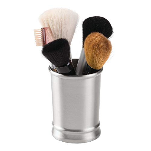 mDesign Modern Round Metal Tumbler Cup for Bathroom Vanity Countertops for Rinsing, Drinking, Storing Dental Accessories and Organizing Makeup Brushes, Eye Liners - Brushed