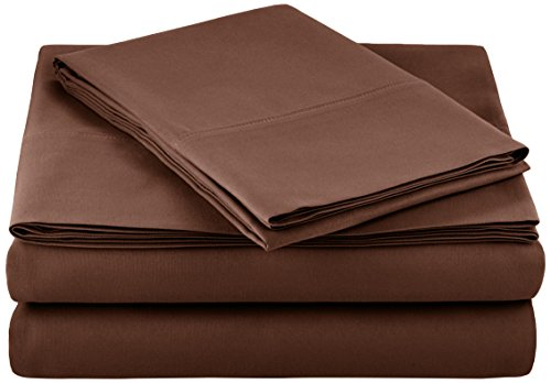 AmazonBasics Microfiber Bed Sheet Set - Twin, - Fitted Sheet Chocolate