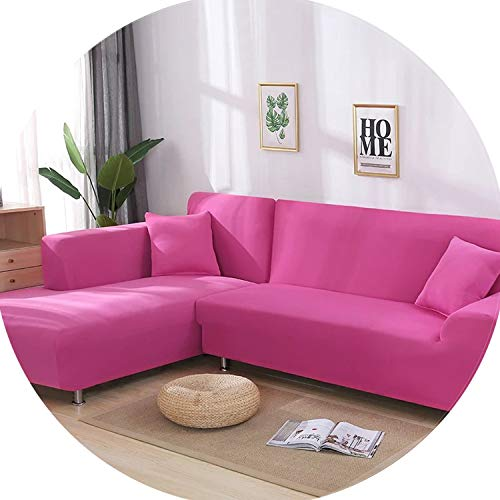 Gooding life 2 Pieces Covers for L Shaped Sofa Corner Sofa Living Room Sectional Slipcovers Chaise Longue Covers Universal Stretch Elastic,Pink,145-190cm 235-300cm (Edmonton Sectionals)
