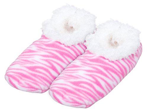 Alsino Damen Snoozies Hausschuhe plüsch über 15 MODELLE Snoozies ANTI RUTSCH ABS Kuschel Puschen Winter kuschelig weich bunt Damenhausschuhe 02/6002 Tiger pink; 40-41