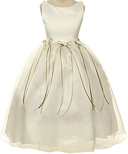 Rosebud Flower Bow Ribbons Big Girl Flower Girls Dresses (14KD9) Ivory 14 (Tea Length Ribbon)