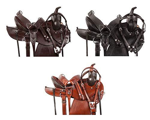 (AceRugs Round Skirt Western Pleasure Trail Endurance Riding Horse Saddle Premium Leather DEEP SEAT Bridle REINS Breastplate (Medium Oil, 17))