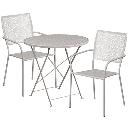 MFO 30'' Round Light Gray Indoor-Outdoor Steel Folding Patio Table Set with 2 Square Back Chairs