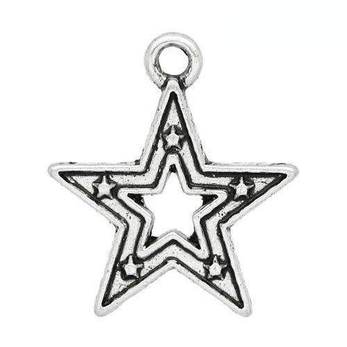 Paquet 15 x Argent Antique Tibétain 18mm Breloques Pendentif (Étoile) - (ZX13390) - Charming Beads