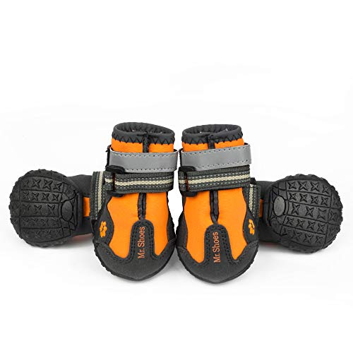 Dog Skid Boots (MR-BABULA Dog Shoes, Outdoor Mountaineering Waterproof Anti-Skid, relective Banded Dog Boots(Orange,Size 4/5/6))