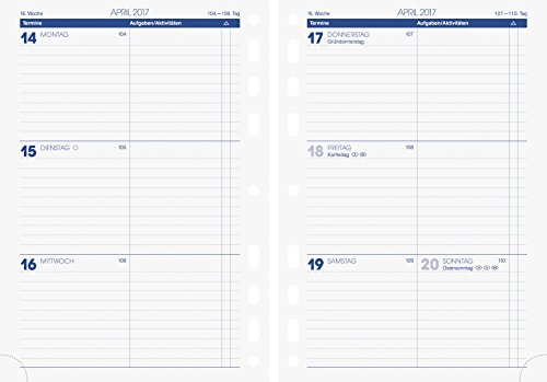 Brunnen (107910017) Zeitplansysteme/Ringbuchkalender/Timer Wochenkalendarium für Rido/idé Timing 1 (A5, 148 x 210 mm, 2 Seiten = 1 Woche, Kalendarium 2017)