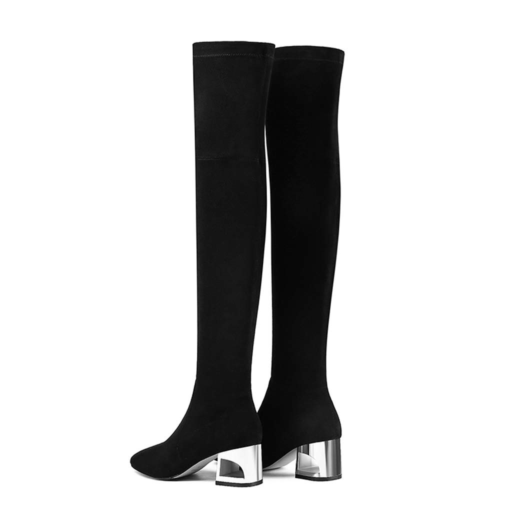 Color : Black, Size : 35 Truisa Boots Womens Over-The-Knee Thick Boots 2018 Autumn and Winter with Long Boots was Thin Elastic Boots Womens Boots Black
