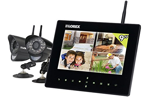 LOREX LW2932 9-Inch LCD with Integrated SD Recording and 2 Wireless Indoor/Outdoor Cameras (Black) (Lorex Live Wireless Video)