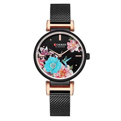Women Watches for Sale,Waterproof Ultra Thin Mesh Belt Bird Language Flower Dial Ladies Fashion Watch(Black)