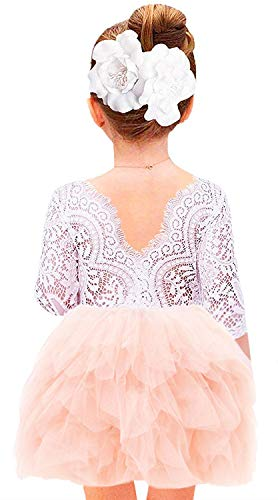 2Bunnies Girl Beaded Peony Lace Back A-Line Tiered Tutu Tulle Flower Girl Dress (Pink 3/4 Sleeve Short, 7-8YRS)