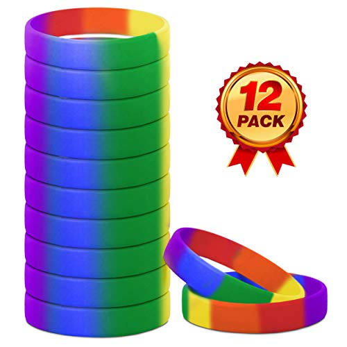 Rainbow Bracelet | Rainbow Party Favors | Rainbow Wristband | Rubber Bracelets | Silicone Wristbands for Men Women Adults | Rainbow -