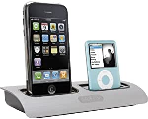 Griffin PowerDock Dual-Position Charging Station for iPhone 4 & 4S, iPod Touch, iPod Nano (Silver)