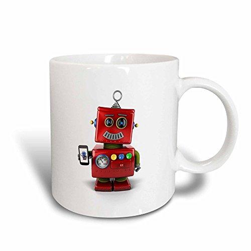 3dRose Cute Vintage Toy Robot with Smart Phone Magic Transforming Mug, ()