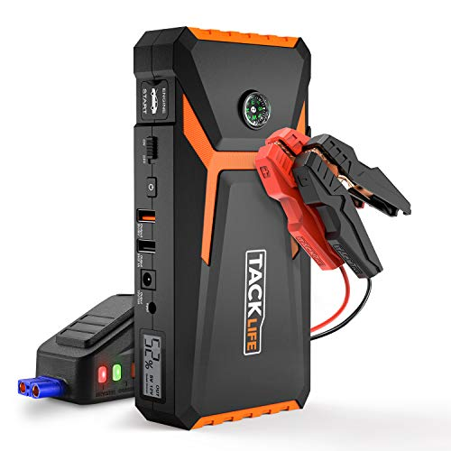 TACKLIFE T8 Car Jump Starter – 800A Peak 18000mAh, 12V Auto Battery Booster (up to 6.5L gas, 5.5L diesel engine), Portable Power Pack with Smart Jumper Cables, Quick-charge, LCD Screen & Compass