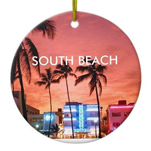 Miami South Beach Halloween 2019 (TIFA-LOVE South Beach Miami Christmas Ornament Ceramic Circle 3)