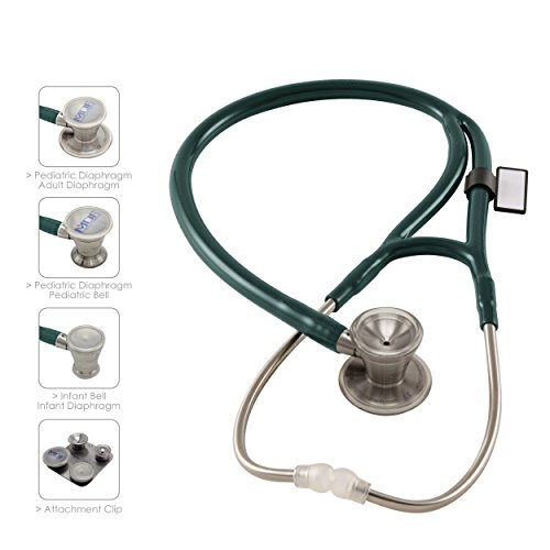 - MDF ProCardial C3 Cardiology Stainless Steel Dual Head Stethoscope with Adult, Pediatric, and Infant-Neonatal convertible chestpiece -Free-Parts-for-Life & Lifetime Warranty (MDF797CC) (Emerald Green)